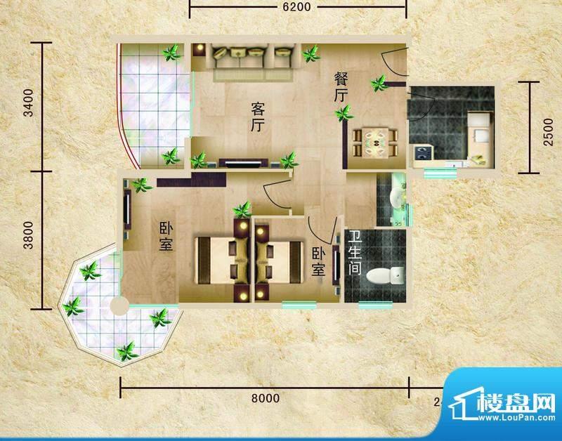 聚仙阁4、5号楼G2户面积:79.81平米