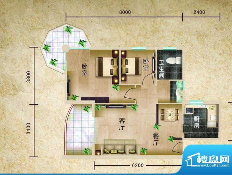 聚仙阁4、5号楼F2户面积:74.71平米