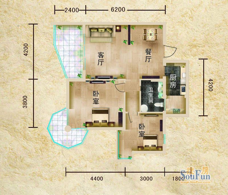 聚仙阁1号楼C1户型 面积:71.80平米