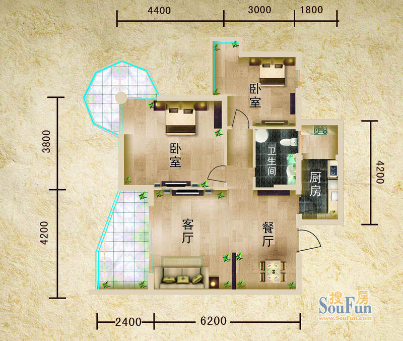 聚仙阁1号楼C2户型 面积:88.84平米
