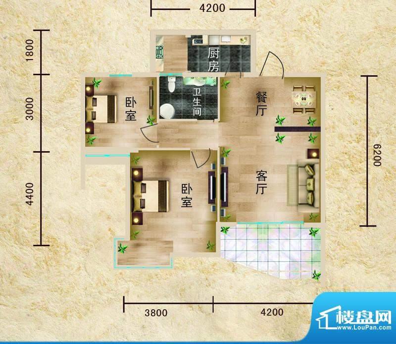 聚仙阁1号楼D1户型 面积:66.49平米