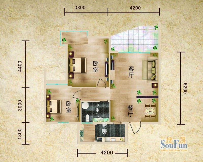 聚仙阁1号楼D2户型 面积:82.27平米