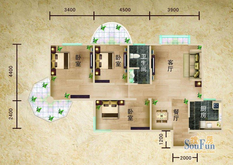 聚仙阁5号楼E1户型 面积:83.00平米
