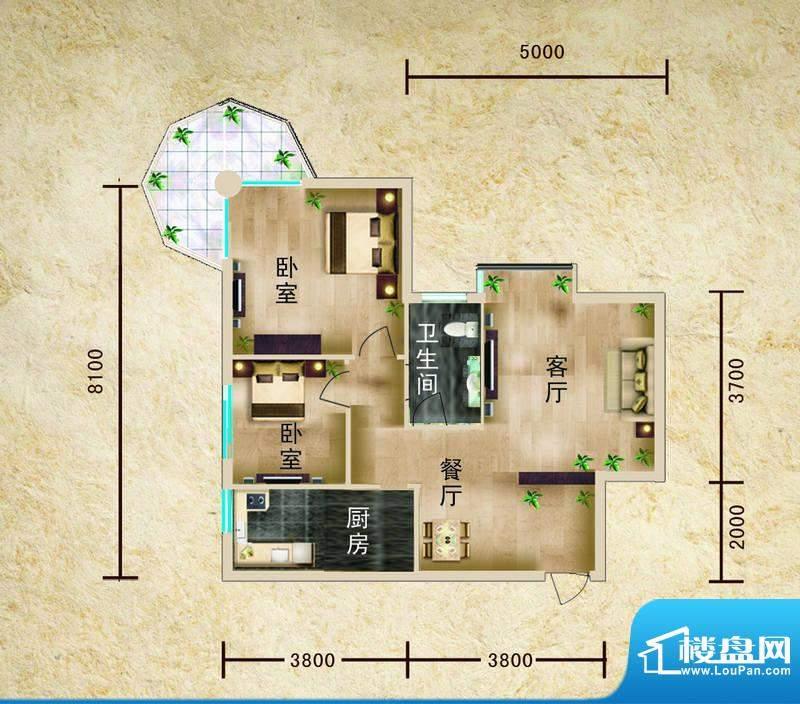 聚仙阁5号楼E2户型 面积:102.55平米