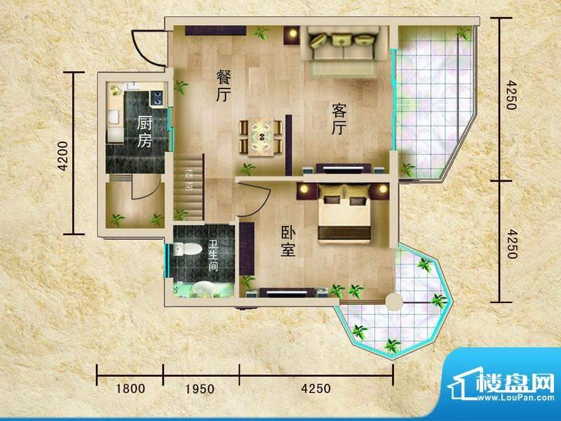 聚仙阁1号楼A1户型 面积:60.35平米