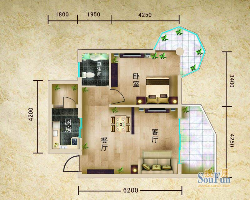 聚仙阁1号楼A2户型 面积:74.68平米