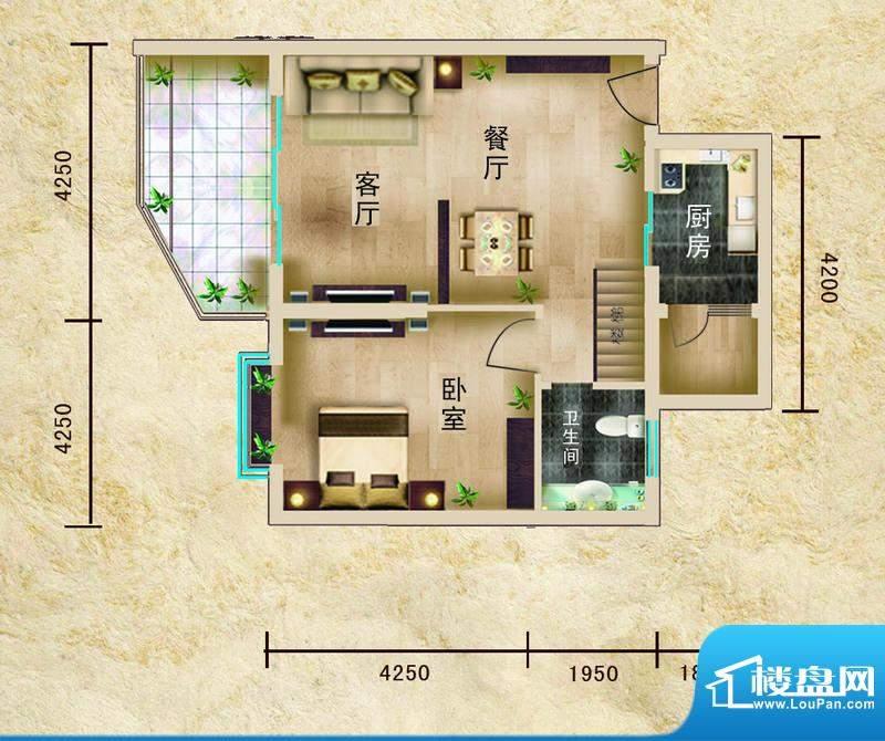 聚仙阁1号楼B1户型 面积:55.06平米