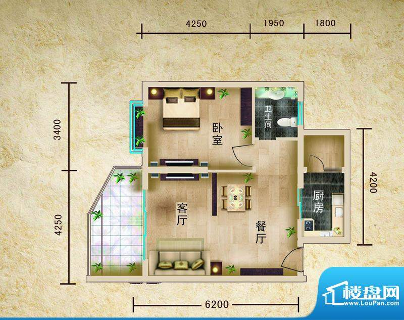 聚仙阁1号楼B2户型 面积:68.12平米