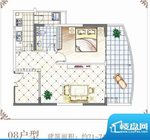 半岛花园户型08 1室面积:71.00平米