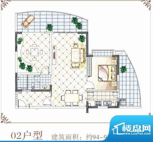 半岛花园户型02 1室面积:94.00平米
