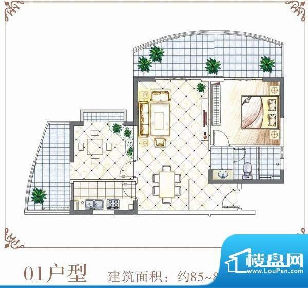 半岛花园户型01 1室面积:85.00平米