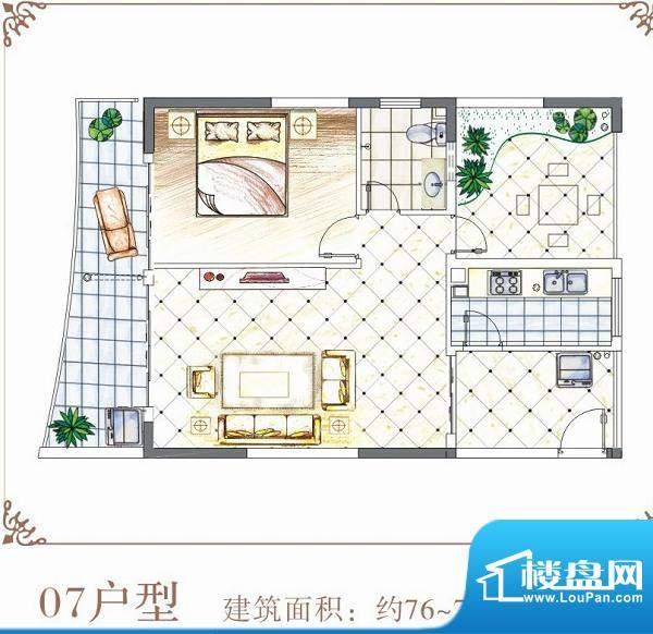 半岛花园户型07 1室面积:76.00平米