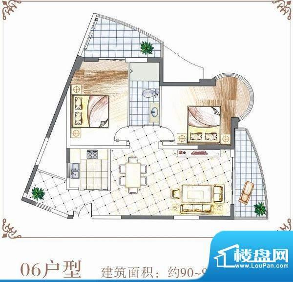 半岛花园户型06 2室面积:90.00平米