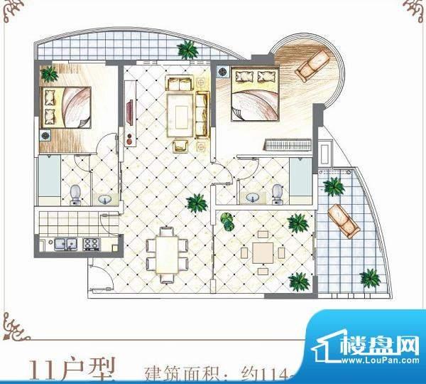 半岛花园户型11 2室面积:114.00平米