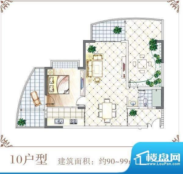 半岛花园户型10 1室面积:90.00平米