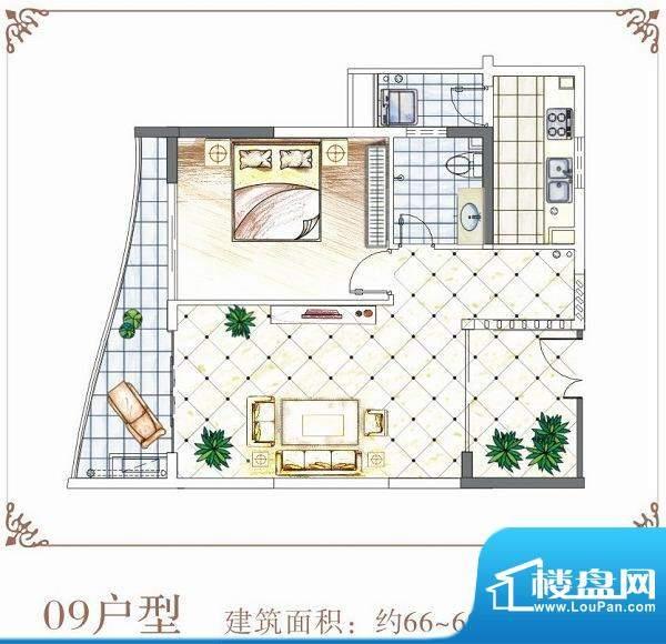 半岛花园户型09 1室面积:66.00平米