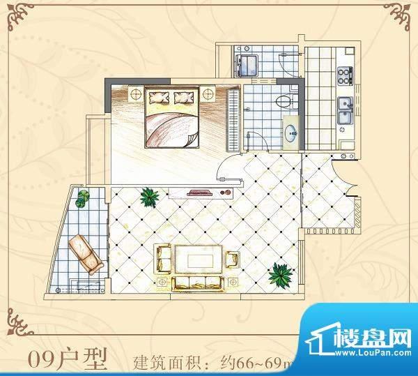 半岛花园09户型 1室面积:66.00平米