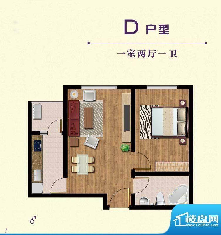 晟祥·悦城D户型 1室面积:0.00m平米