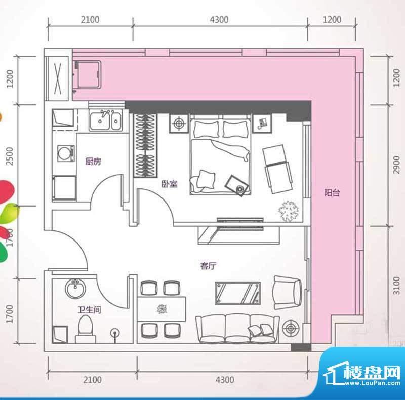 峰尚国际B-a2-01 1室面积:70.65平米
