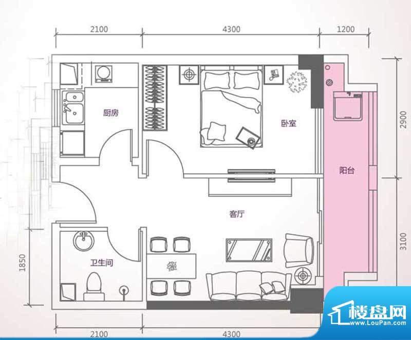 峰尚国际B-a1-01 1室面积:63.09平米