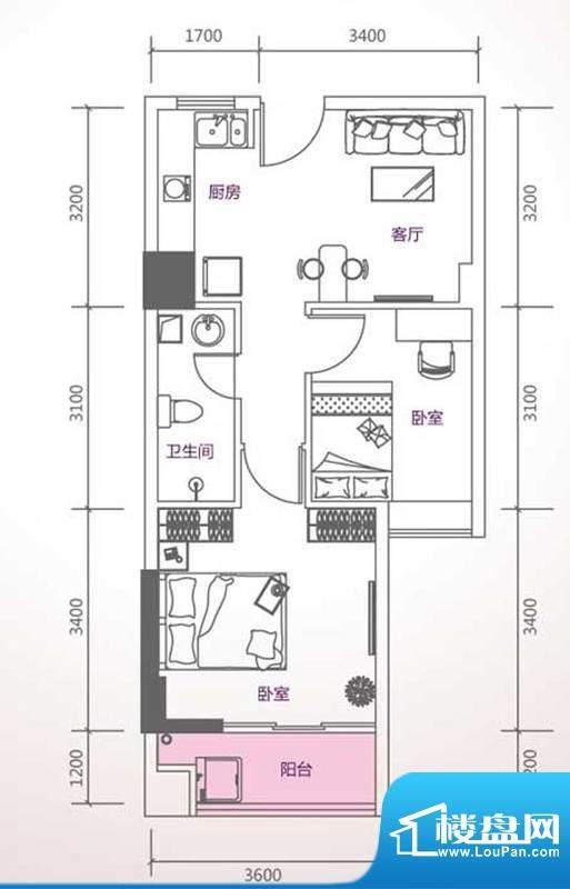 峰尚国际A-b1-01 2室面积:63.43平米