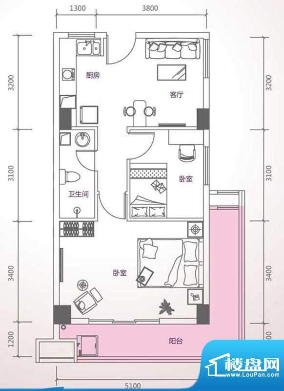 峰尚国际A-b1-01 2室面积:76.38平米