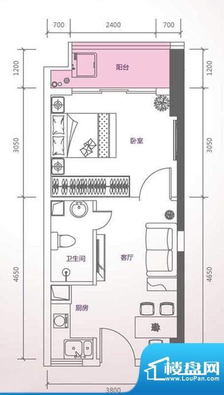 峰尚国际A-a2-01 1室面积:42.46平米