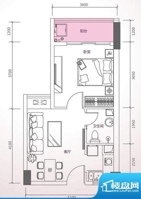 峰尚国际A-a1-01 1室面积:49.34平米