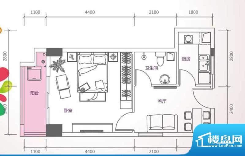 峰尚国际B-a3-01 1室面积:58.50平米