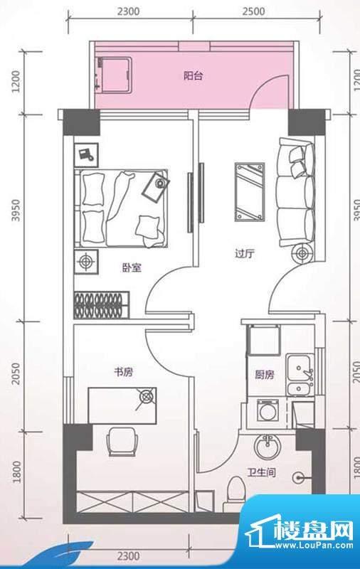 峰尚国际B-b1-01 2室面积:60.32平米