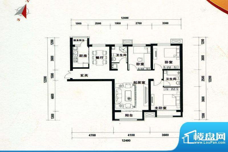 万达广场A-1a户型 3面积:130.00m平米