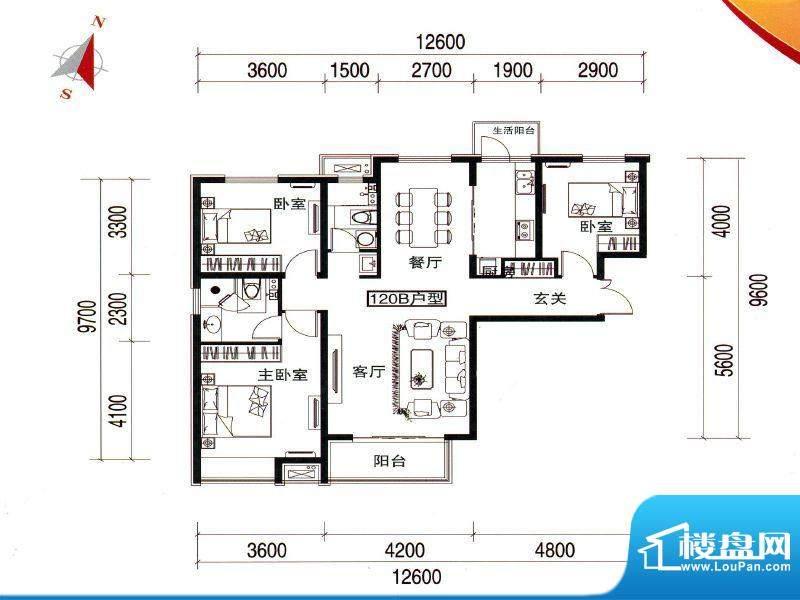 万达广场120B户型 2面积:120.00m平米