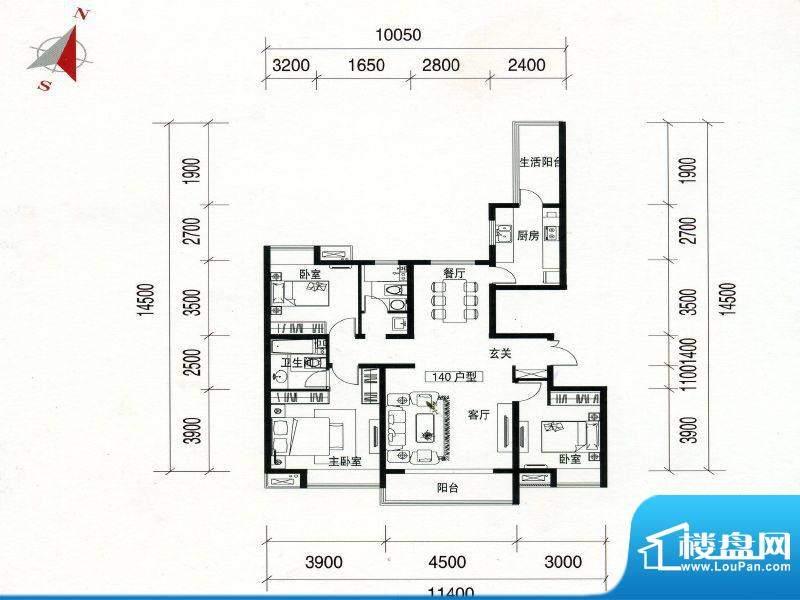 万达广场140户型 3室面积:137.00m平米