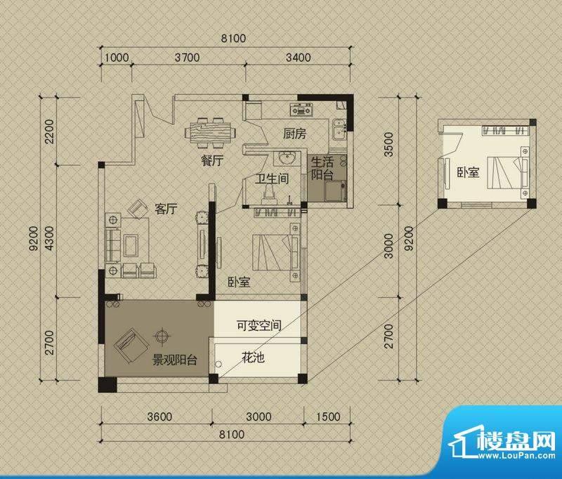 同创碧海城南苑美兰面积:69.74平米