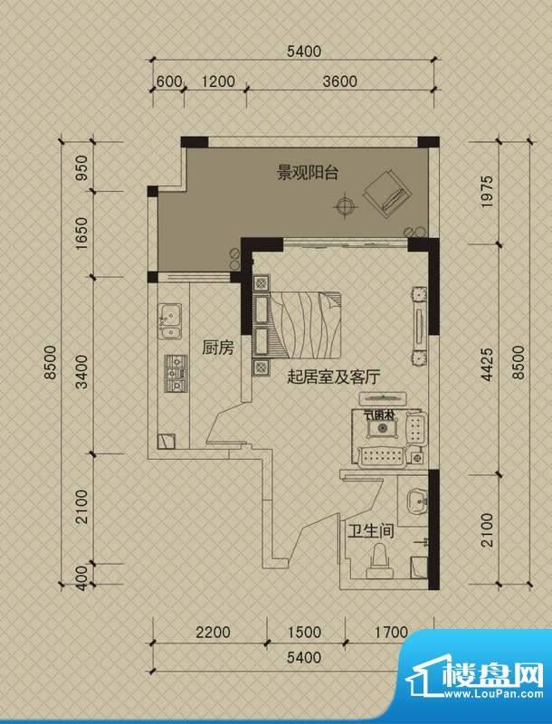 同创碧海城南苑美兰面积:48.85平米