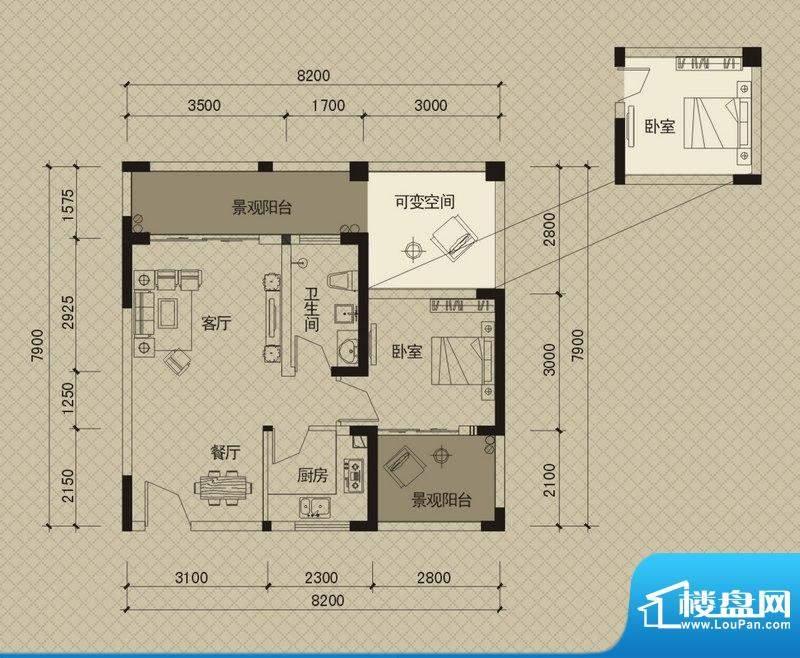 同创碧海城南苑美兰面积:74.05平米