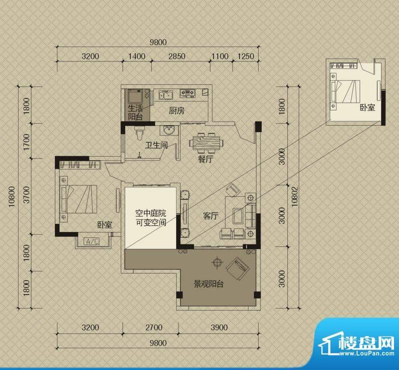 同创碧海城南苑美兰面积:74.03平米