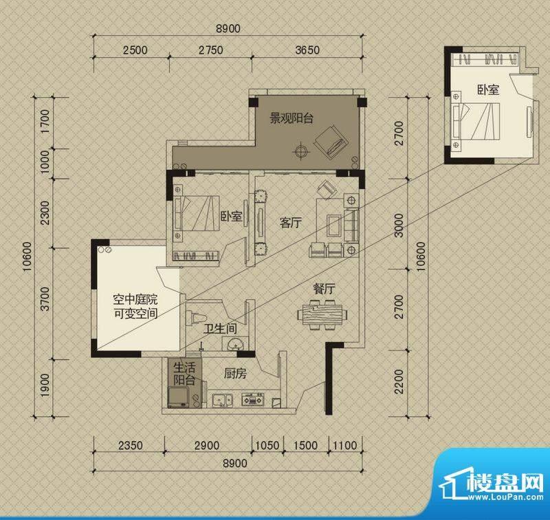 同创碧海城南苑美兰面积:78.32平米