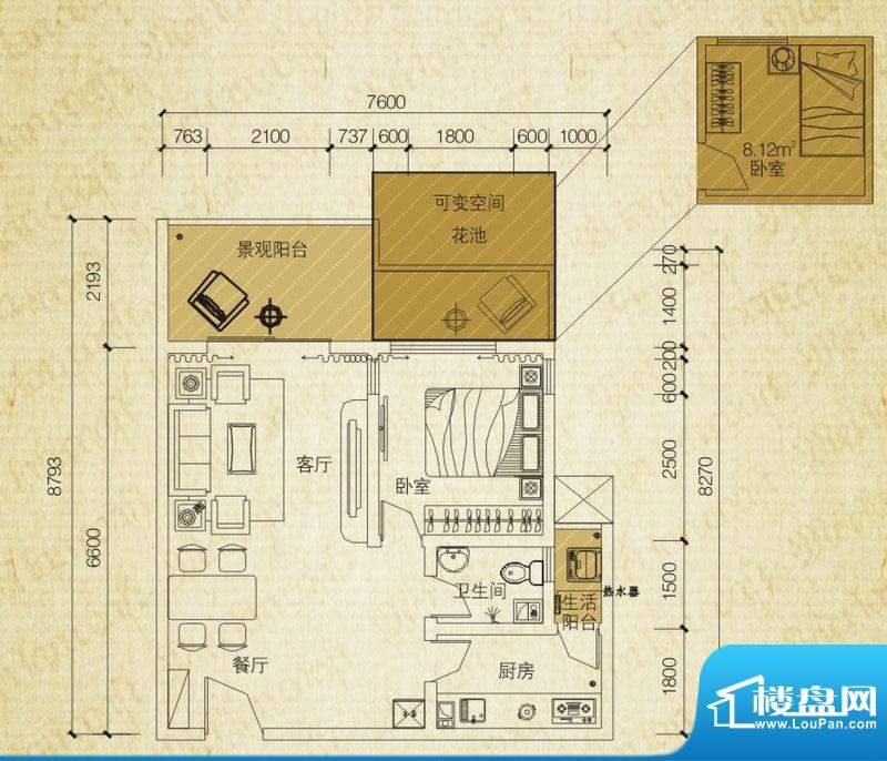 同创碧海城南苑美兰面积:62.48平米