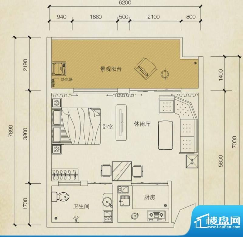 同创碧海城南苑美兰面积:51.35平米