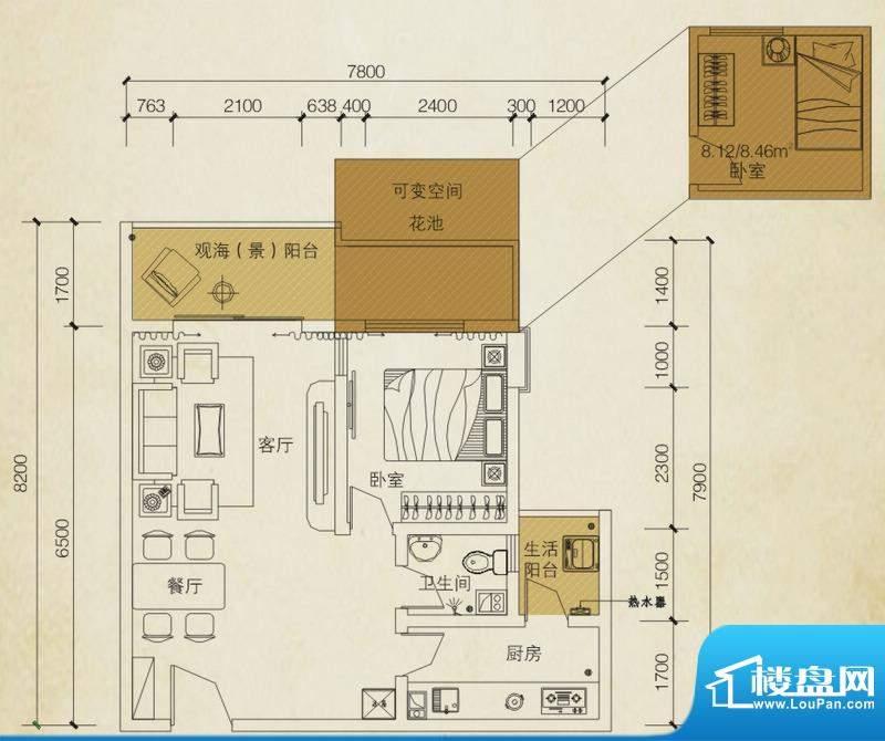 同创碧海城南苑美兰面积:58.61平米