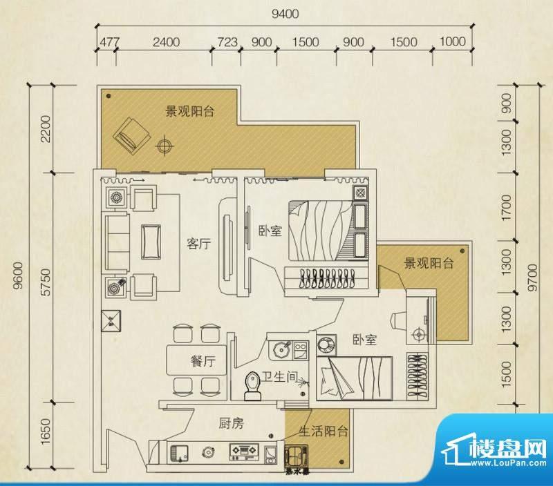 同创碧海城南苑美兰面积:72.01平米