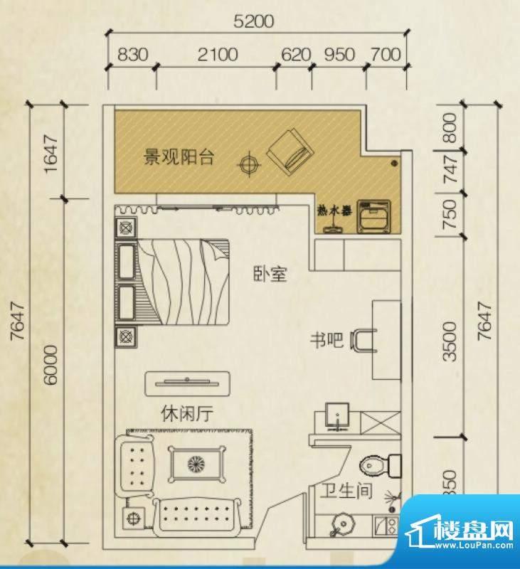 同创碧海城南苑美兰面积:40.43平米