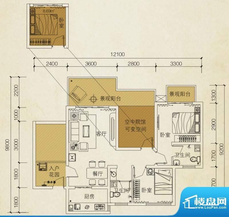 同创碧海城南苑美兰面积:80.81平米