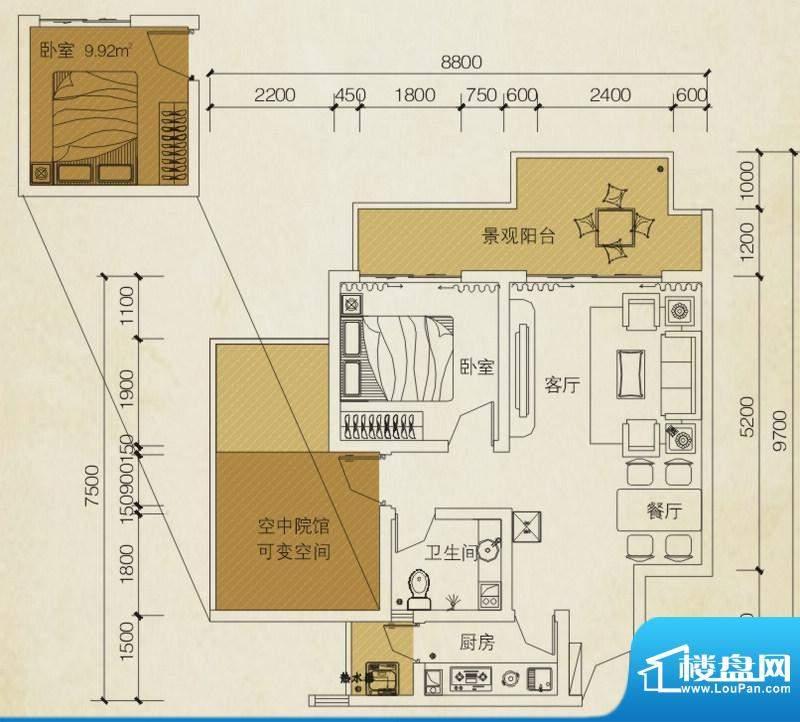 同创碧海城南苑美兰面积:63.01平米