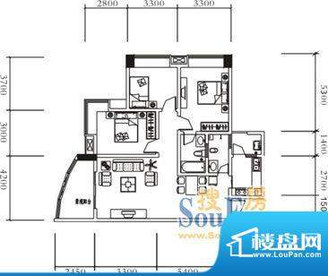 远达美美国际C 3室2面积:110.60平米