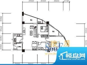 远达美美国际A 2室2面积:92.80平米