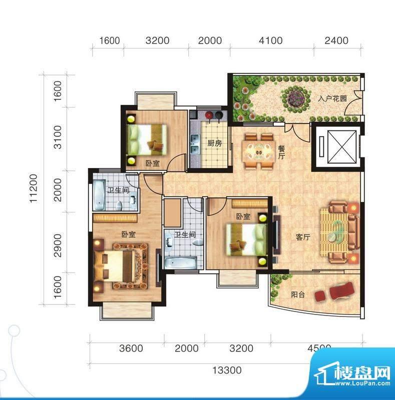 福隆广场三期海福湾面积:136.57平米