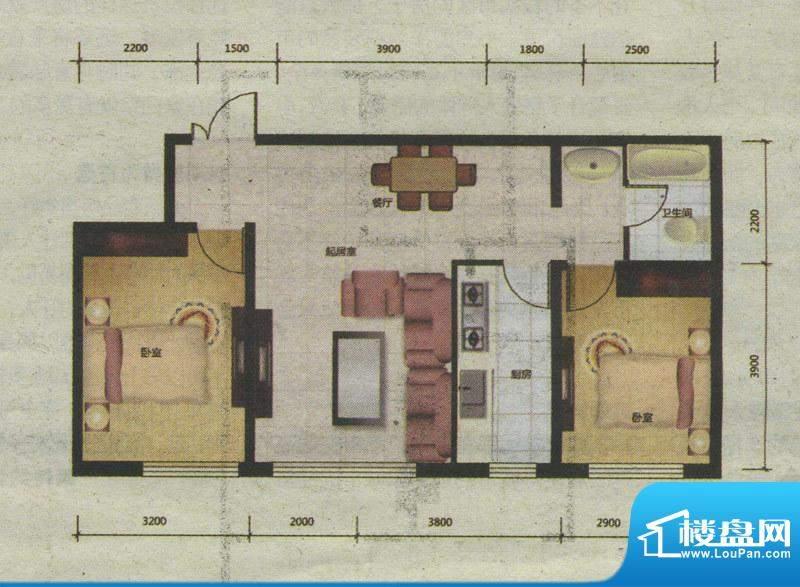 爱巢8090D-2户型 2室面积:0.00m平米
