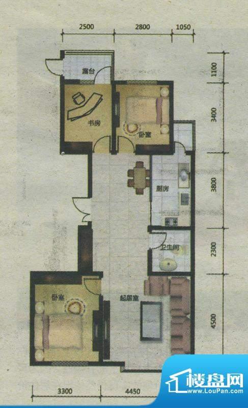 爱巢8090C-1户型 3室面积:0.00m平米